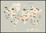 Wildlife World Map Poster