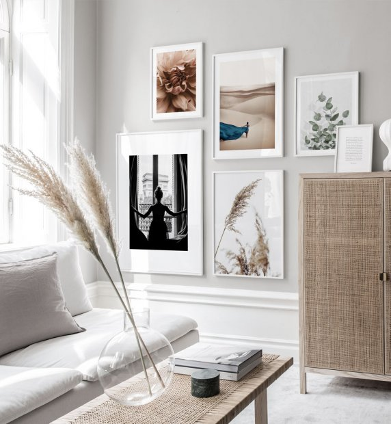 Gallery Wall with minimalistic photo art and white wooden frames