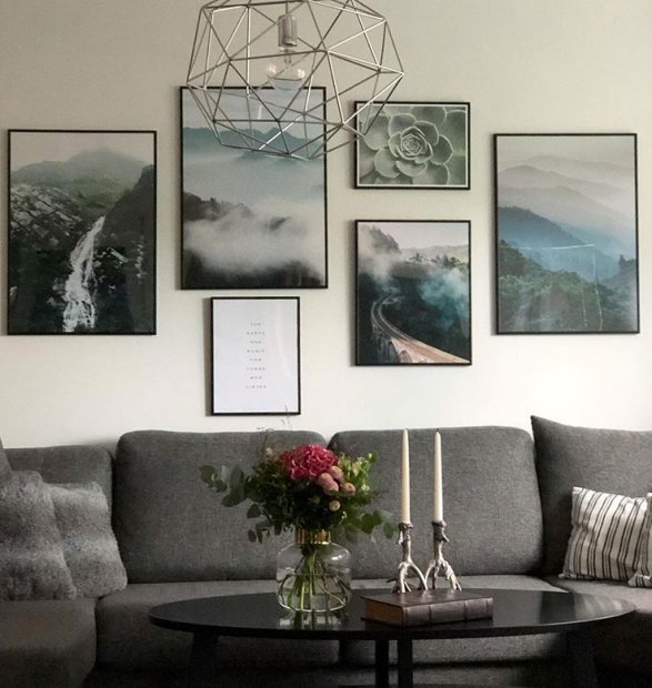Gallery wall with nature posters in black frames