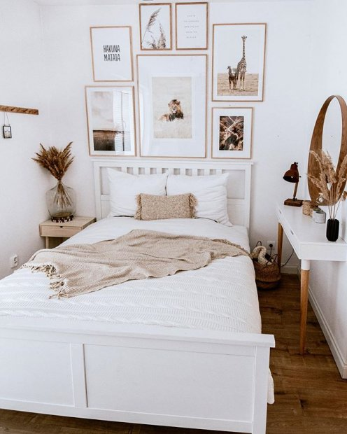 Beige white bedroom gallery wall animal posters