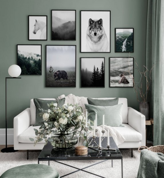 Gallery wall with posters in green shades and black frames
