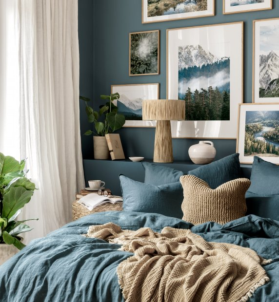 Misty mountains gallery wall forest prints blue bedroom ideas