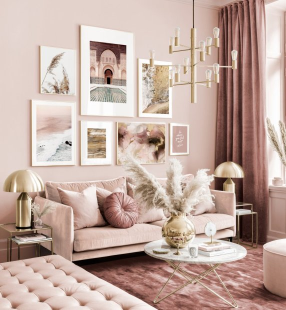 Elegant gallery wall pink-beige living room abstract posters golden frames