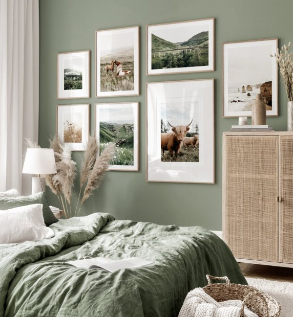 Scottish gallery wall green bedroom highland cattle poster oak frames