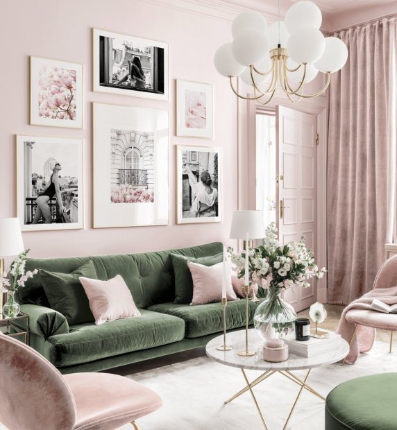 Stylish gallery wall pink-green living room black and white posters golden frames