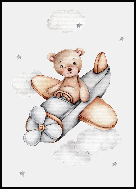 Flying Teddy Poster